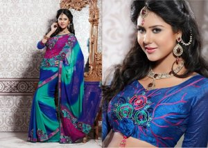Georgette Partywear Bridal Designer Embroidered Sari Saree with Blouse - X 212 N