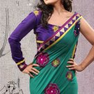 Faux Georgette Partywear Designer Embroidered Sari Saree With Blouse - X 8040B N
