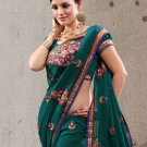 Faux Georgette Partywear Designer Embroidered Sari Saree With Blouse - X 6368C N