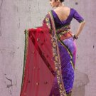 Faux Georgette Partywear Designer Embroidered Sari Saree With Blouse - X 6383B N
