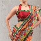 Faux Georgette Partywear Designer Embroidered Sari Saree With Blouse - X 6383C N