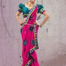 Faux Georgette Partywear Designer Embroidered Sari Saree With Blouse - X 8040A N
