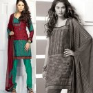 Shalwar Salwar Kameez Indian Designer Embroidered Crepe Suit - X 109