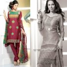 Shalwar Salwar Kameez Indian Designer Embroidered Crepe Suit - X 116