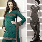 Shalwar Salwar Kameez Indian Designer Embroidered Crepe Suit - X 106