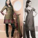 Shalwar Salwar Kameez Indian Designer Embroidered Crepe Suit - X 88