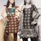 Shalwar Salwar Kameez Indian Designer Embroidered Crepe Suit - X 84