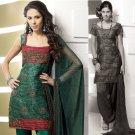 Shalwar Salwar Kameez Indian Designer Embroidered Crepe Suit - X 60