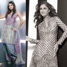 Shalwar Salwar Kameez Indian Designer Embroidered Crepe Suit - X 41