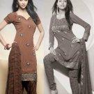 Shalwar Salwar Kameez Indian Designer Embroidered Crepe Suit - X 96