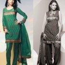 Shalwar Salwar Kameez Indian Designer Embroidered Crepe Suit - X 52
