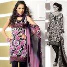 Shalwar Salwar Kameez Indian Designer Embroidered Crepe Suit - X 67