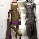 Shalwar Salwar Kameez Indian Designer Embroidered Crepe Suit - X 49
