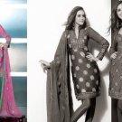 Shalwar Salwar Kameez Indian Designer Embroidered Crepe Suit - X 14