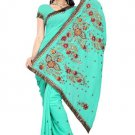 Indian Bollywood Designer Saree Embroidery Stylish Traditional Sari - TU 579