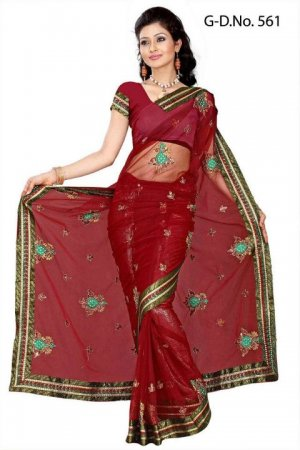 Indian Bollywood Designer Saree Embroidery Stylish Traditional Sari - TU 561