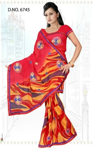 Indian Bollywood Designer Saree Embroidered Sari - TU6745