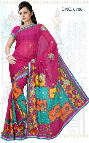 Indian Bollywood Designer Saree Embroidered Sari - TU6706