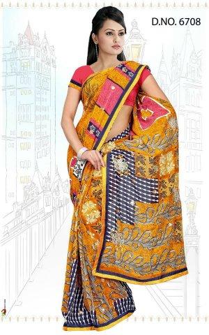 Indian Bollywood Designer Saree Embroidered Sari - Tu6708