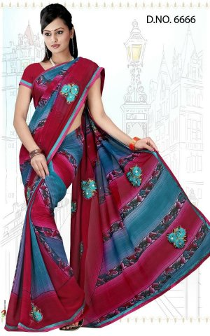 Indian Bollywood Designer Saree Embroidered Sari - Tu6666