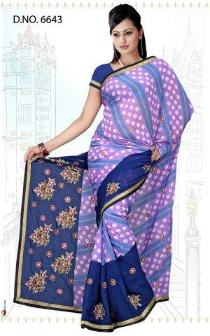 Indian Bollywood Designer Saree Embroidered Sari - Tu6643