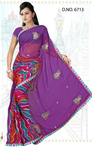 Indian Bollywood Designer Saree Embroidered Sari - Tu6713