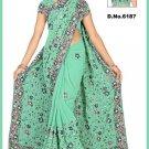 Indian Bollywood Designer Saree Embroidered Sari - TU6187
