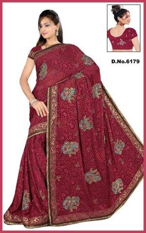 Indian Bollywood Designer Saree Embroidered Sari - TU6179