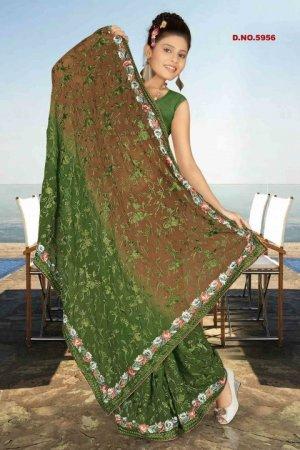 Indian Bollywood Designer Saree Embroidered Sari - TU5956