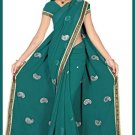 Indian Bollywood Designer Saree Embroidered Sari - TU5940