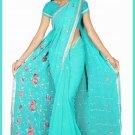 Indian Bollywood Designer Saree Embroidered Sari - TU5933