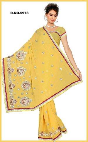 Indian Bollywood Designer Saree Embroidered Sari - TU5973