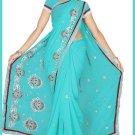 Indian Bollywood Designer Saree Embroidered Sari - TU5972