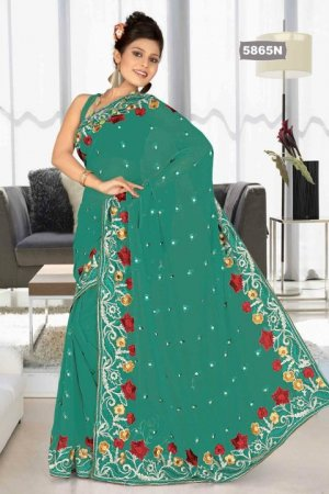 Indian Bollywood Designer Saree Embroidered Sari - TU5865