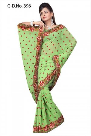 Indian Bollywood Designer Saree Embroidered Sari - TU396