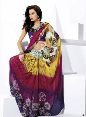 Indian Bollywood Designer Partywear Printed Saree Sari - VF 8306b