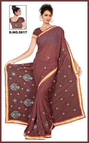 Indian Bollywood Designer Embroidered Saree Sari - Tu5617