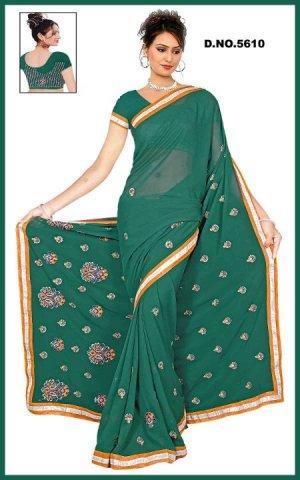 Indian Bollywood Designer Embroidered Saree Sari - Tu5610