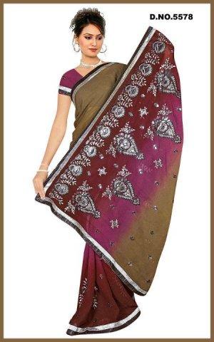 Indian Bollywood Designer Embroidered Saree Sari - Tu5578
