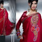 Faux Georgette Bridal Designer Embroidered Sarees Sari With Blouse - X 429