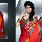 Faux Georgette Bridal Designer Embroidered Sarees Sari With Blouse - X 406
