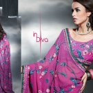 Faux Georgette Bridal Designer Embroidered Sarees Sari With Blouse - X 413