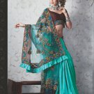 Bridal Net Crepe Exclusive Designer Embroidery Sari With Blouse - X 924 N