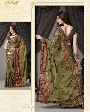 Bollywood Indian Designer Embroidered Wedding Bridal Saree Sari - HF - 7009