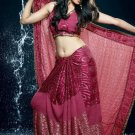 Bollywood Faux Georgette Bridal Embroidered Sarees Sari With Blouse - X 514