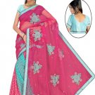 Indian Faux Georgette Wedding Embroidered Saris Sarees With Blouse - HZ 129b N