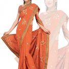 Indian Faux Georgette Wedding Embroidered Saris Sarees With Blouse - HZ 175c N