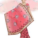 Indian Faux Georgette Wedding Embroidered Saris Sarees With Blouse - HZ 154b N