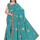 Indian Faux Georgette Wedding Embroidered Saris Sarees With Blouse - HZ 135a N