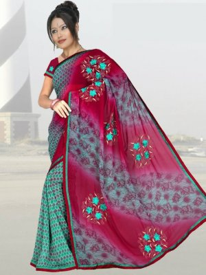 Indian Faux Georgette Wedding Embroidered Saris Sarees With Blouse - HZ 1003c N